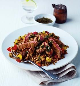 Aromatic Steak Salad with Freekeh and Chimichurri
