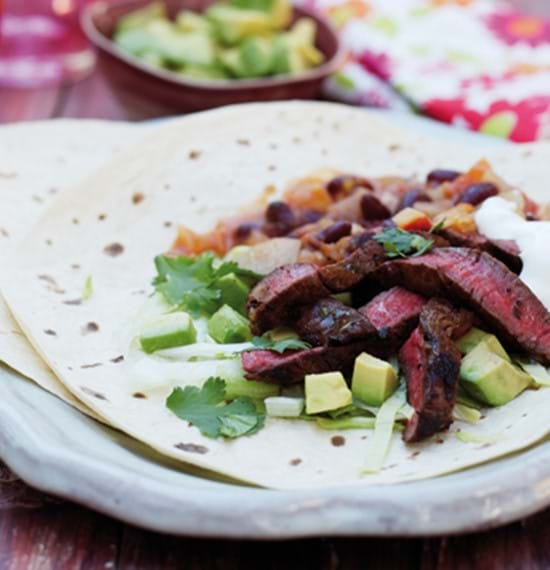 Barbecue Beef Fajitas with Chilli Beans