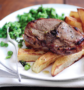 Barnsley Chops with Big Chips and Crushed Peas
