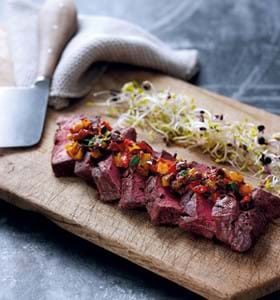 BBQ Flat Iron Steaks with Chargrilled Sweet Pepper Relish