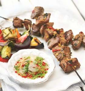 BBQ Lamb Kebabs with Lemongrass & Sweet Chilli Sauce