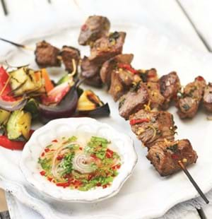 BBQ Lamb Kebabs with Lemon Grass & Sweet Chilli Sauce