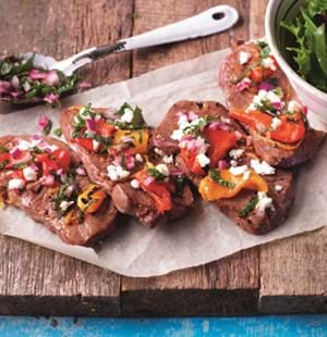 BBQ Lamb Stacks with Mint Relish