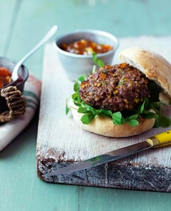BBQ Lamb, Apricot and Coriander Burger