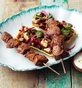 BBQ Maple Glazed Beef Kebabs with Tacos