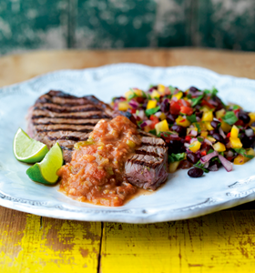 BBQ Steaks with Lime,Tomatoes and Anchovies