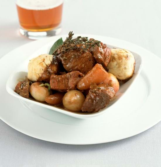 Beef and Beer Casserole with Caraway Seed Dumplings