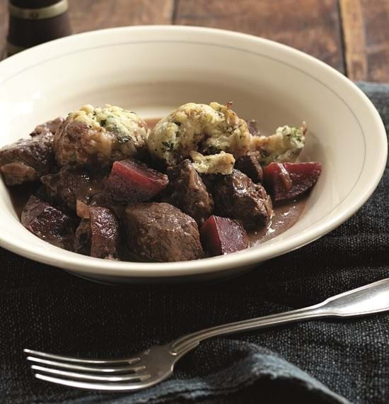 Beef and Beetroot Casserole with Watercress Dumplings