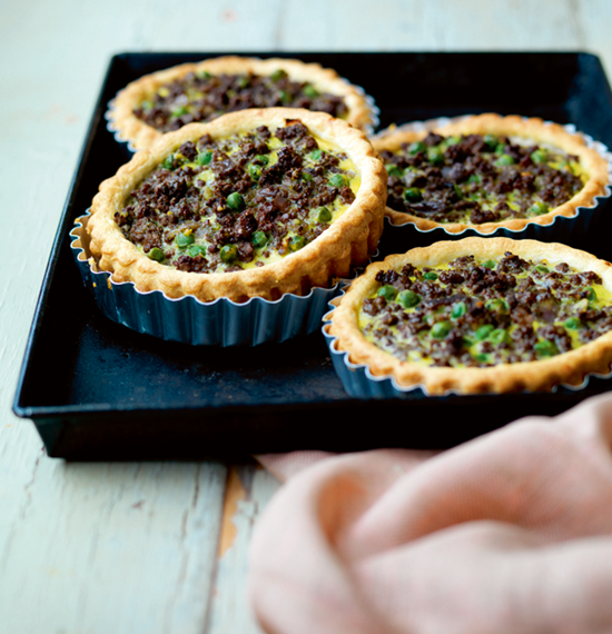 Beef and Red Onion Tarts with Watercress Pesto