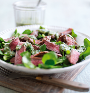 Beef Salad with Watercress and Basil Sauce