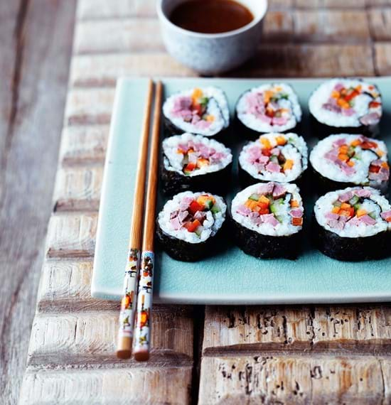 Beef Sushi Rolls (Sushi Maki) with Pickled Ginger Dressing