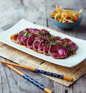 Beef Tataki with Ponzu-Style Dressing and Vegetables