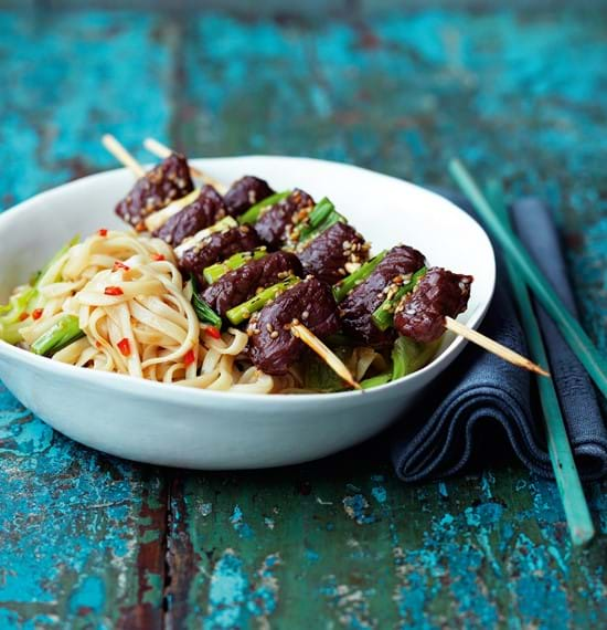 Beef Yakitori with Udon Noodles