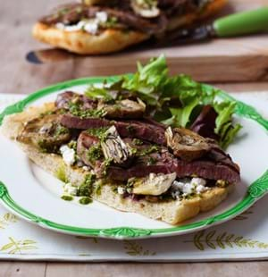 Beef,Artichoke and Feta Bruschetta