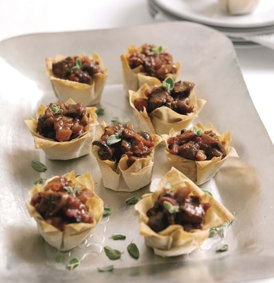 Beef,Olive and Red Onion Canapes