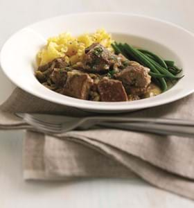 Braised Veal Cubes with Olives and Red Onions