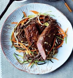Cannon of Lamb with Vegetables, Soba Noodles and Kimchi