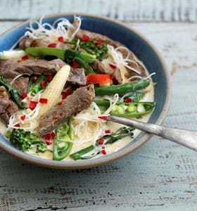 Chilli Beef and Coconut Noodle Soup
