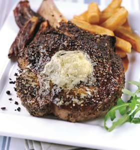 Club Steak on the bone with Blue Cheese Butter