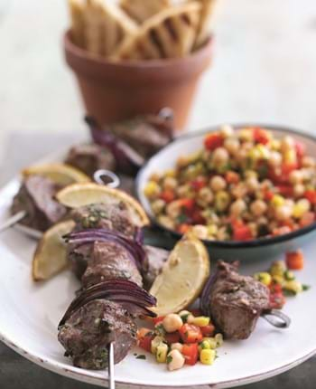Coriander and Lemon Infused Lamb Kebabs with ChickPea and Sweet Corn Salsa