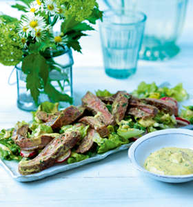 Coronation Steak,Radish and Pea Salad