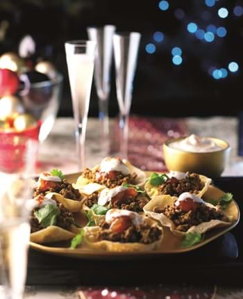 Festive Beef Poppadoms with Coconut Relish