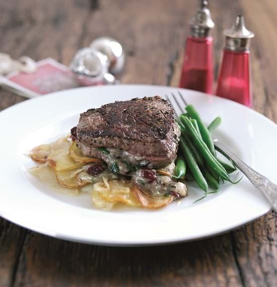 Fillet Steaks with Stilton and Cranberries