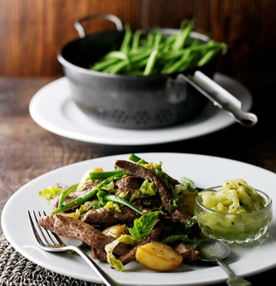 Flash-Fried Lamb Strips with Seasonal Vegetables and Cucumber Relish