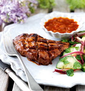 Flat Iron Steaks with Date Infused Barbecue Sauce