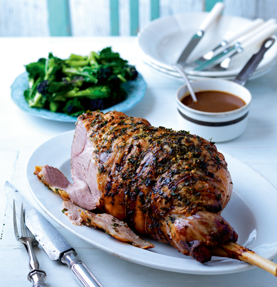 Garlic and Herb Butter Roast Lamb with Cider Gravy