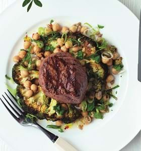 Griddled Beef with Crispy Broccoli and Chick Peas