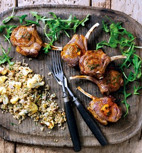 Grilled Lamb Chops with Warm Cauliflower and Quinoa Salad