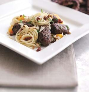 Hearty Lamb Koftas with Spaghetti,Squash and Pine nuts