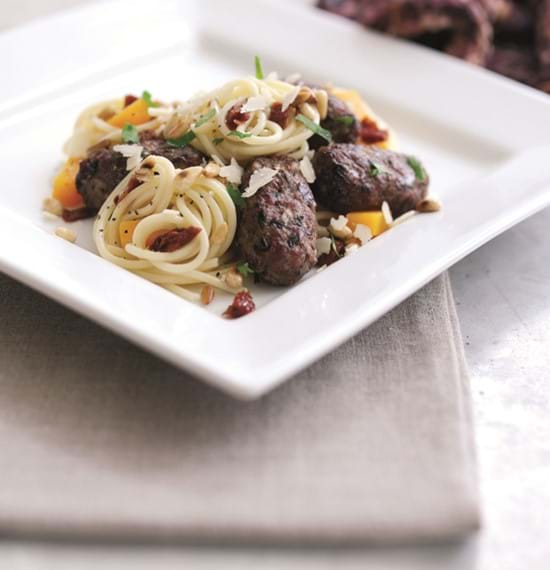 Hearty Lamb Koftas with Spaghetti, Squash and Pine nuts