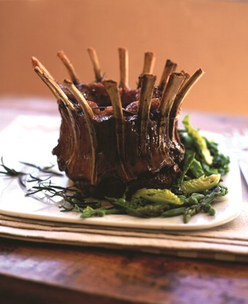 Herby Crown Roast Lamb with Seasonal Spring Vegetables in a  Mint Butter