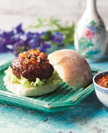 Hoisin BBQ Burgers with Sweet Pepper Relish