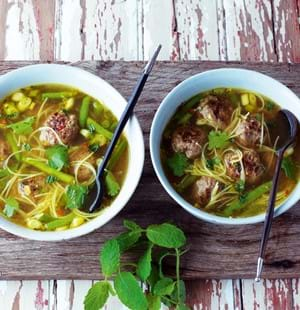 Hot and Sour Soup with Thai Meatballs