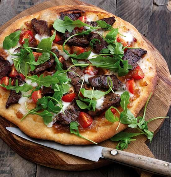 Lamb and Tomato Pizza with Rocket