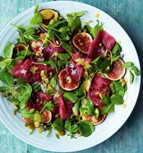 Lamb Carpaccio with Figs, Olives and Mint
