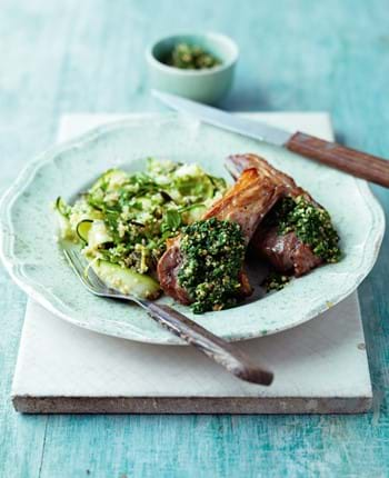 Lamb Chops with Nettle Pesto, Quinoa, Spring Herb and Lemon Salad