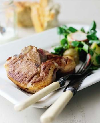 Lamb Chops with Potato, Herb and Watercress Salad and a Creamy Dressing