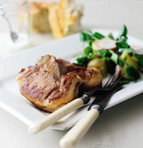 Lamb Chops with Potato,Herb and Watercress Salad and a Creamy Dressing