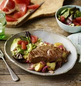 Lamb Leg Steak with Garlic Potatoes and Grapefruit Salad