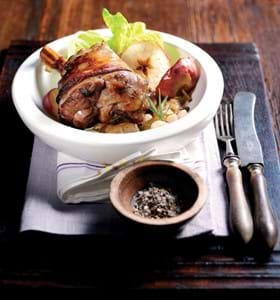 Lamb Shanks with Cider,Apple,Rosemary and Beans