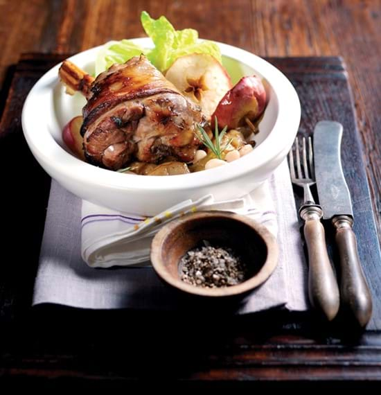 Lamb Shanks with Cider, Apple, Rosemary and Beans