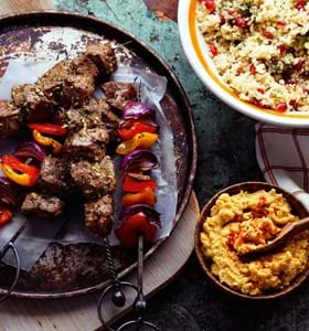 Lamb Shish Kebabs with Houmous