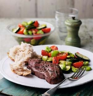 Lamb Steaks with Broad Bean,Courgette and Chive Salad