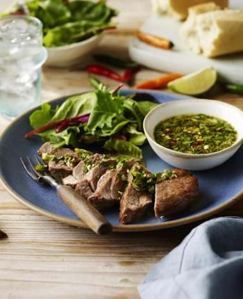 Lamb Steaks with Thai Green Dipping Sauce