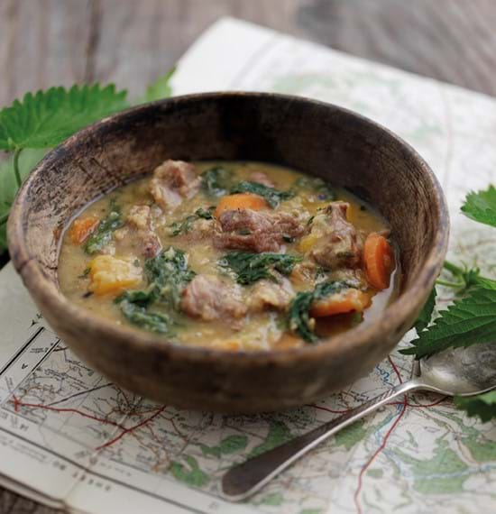 Lamb,Vegetable and Lentil Soup with Nettles
