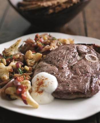 Leg Steaks with Warm Cauliflower,Tomato and Toasted Pine Nut Salad